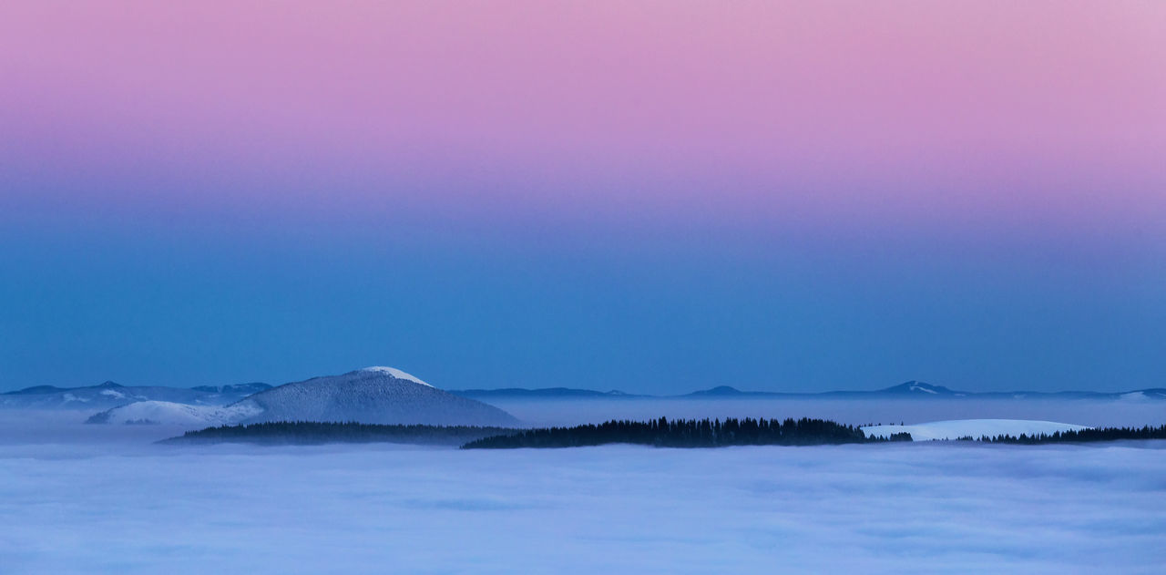 Blue hour in the Rodnei Mountains Abstract Beauty In Nature Blackandwhite Blue Blue Hour Clear Sky Copy Space Fog Foggy Forest Horizon Idyllic Mountain Nature No People Outdoors Pink Color Rodnei Mountains Scenics Sky Tranquil Scene Tranquility
