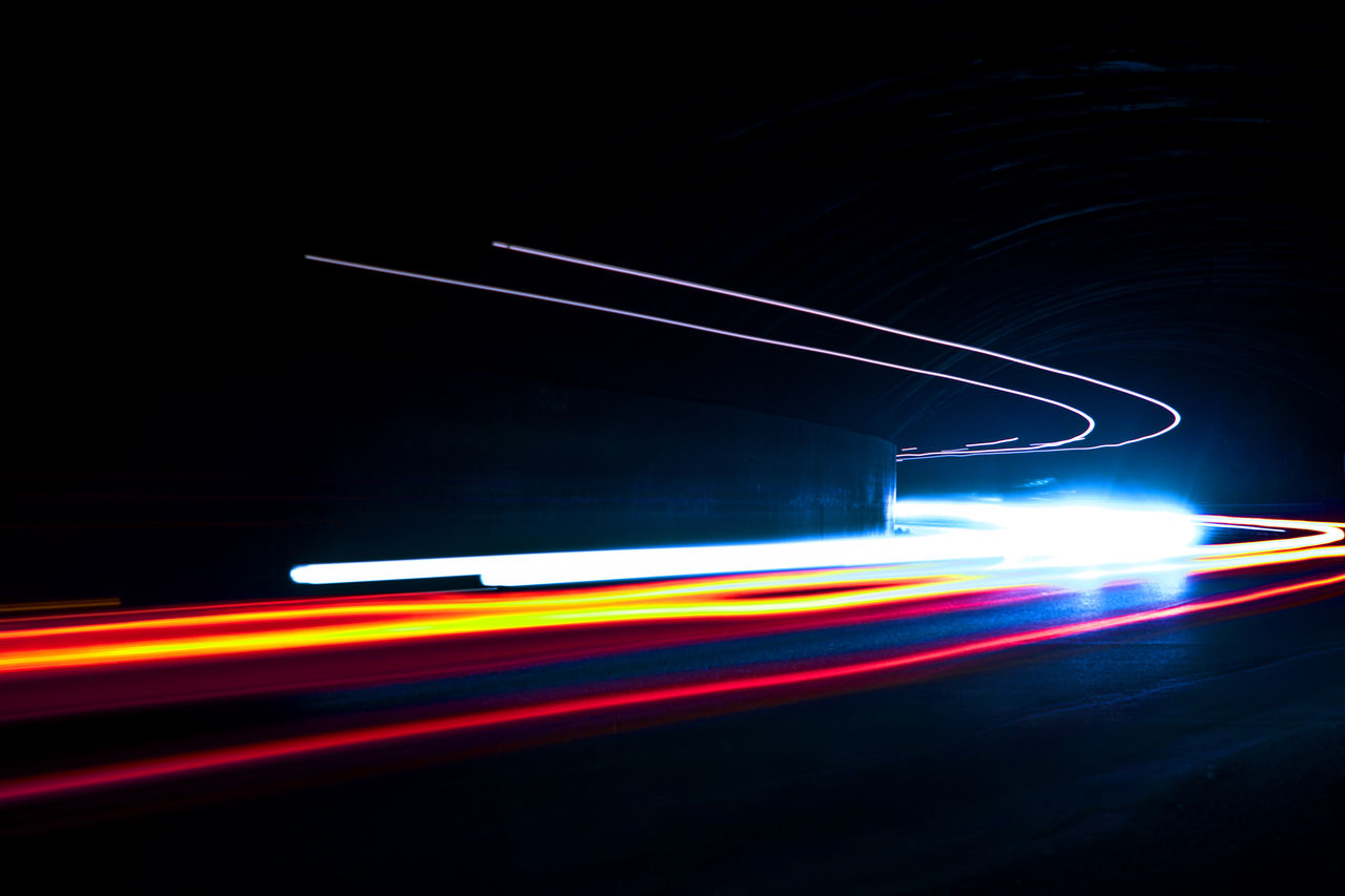 speed, light trail, motion, blurred motion, long exposure, transportation, night, illuminated, road, no people, outdoors, high street