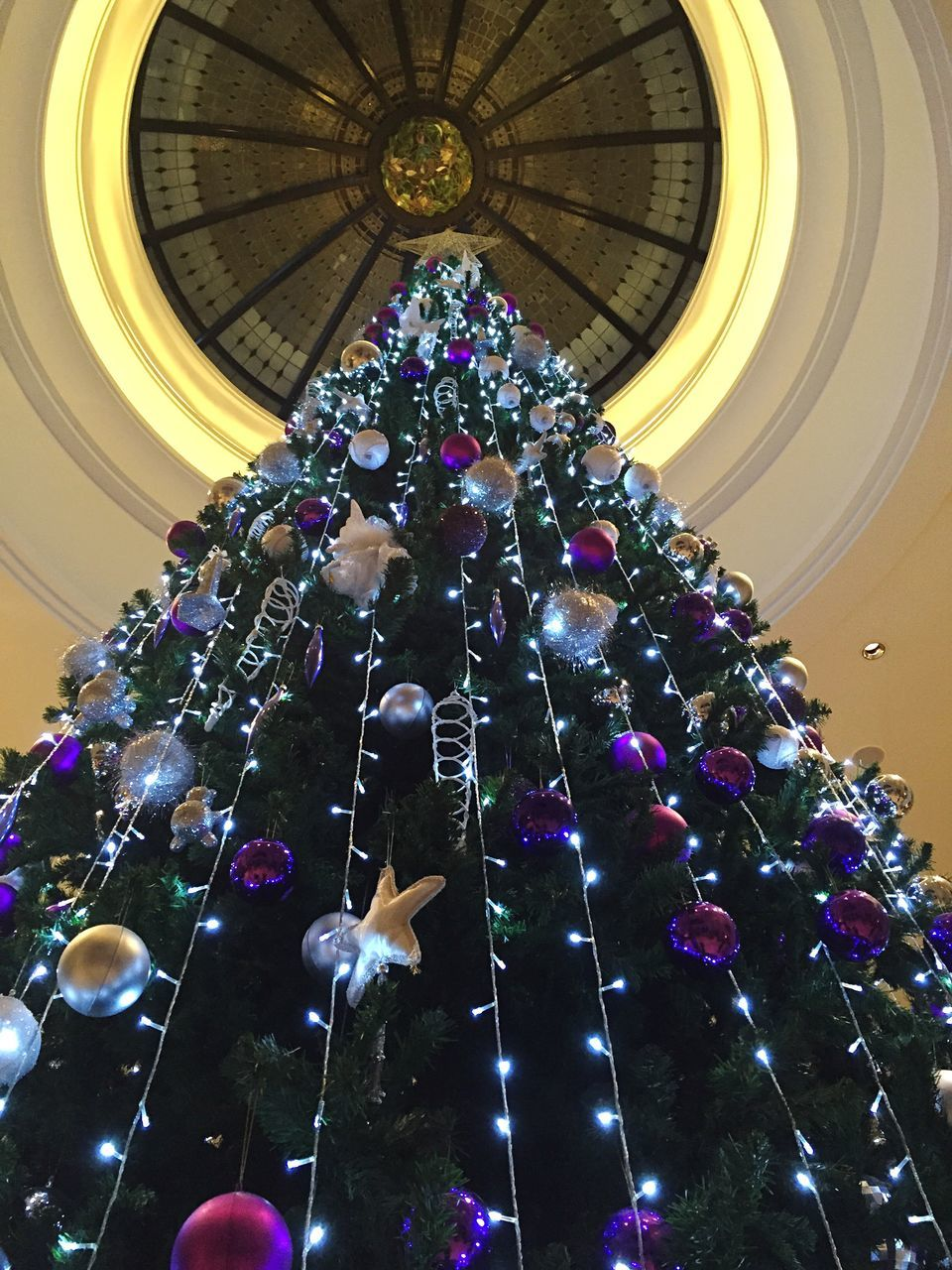 low angle view, architecture, celebration, indoors, no people, christmas, illuminated, christmas decoration, day