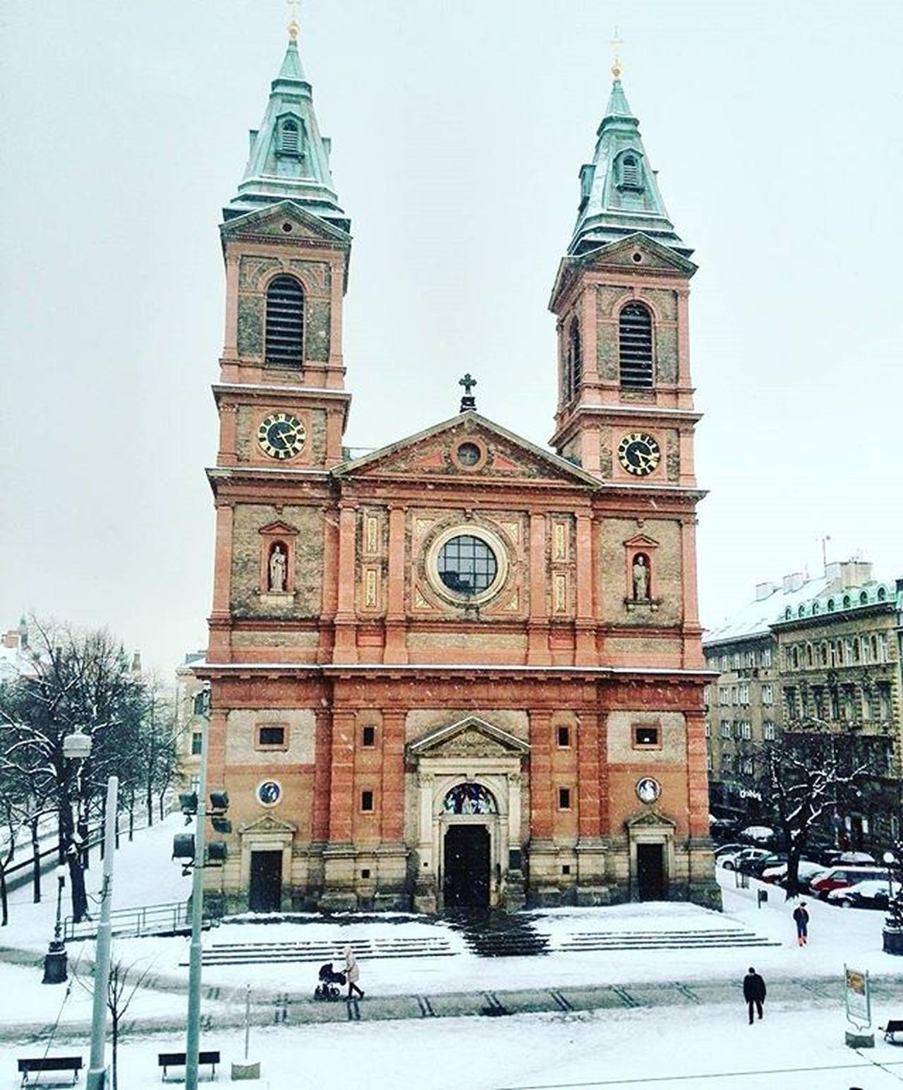 Kostel Zima Snih Namesti Park Praha Andel Church Winter Snow Prague Igerscz