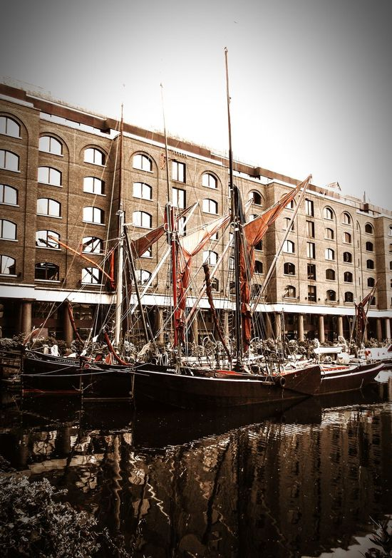 A classic view of Thames Sailing Barges moored in St Catherines Dock, London. LONDON❤ Sailing Ship England🇬🇧 Docked Thames St Catherine Dock Traditional View Water First Eyeem Photo