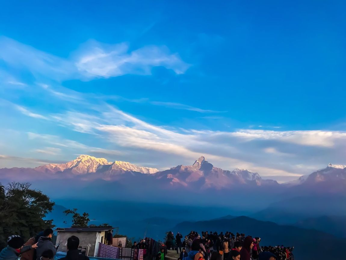Mountain Cloud - Sky Sky Mountain Range Scenics Beauty In Nature Blue Large Group Of People Nature Outdoors Real People Men Women Lifestyles Day City People