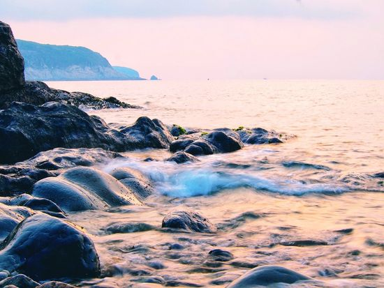 Sea Nature Beauty In Nature Water Horizon Over Water Scenics Tranquility Rock - Object No People Tranquil Scene Beach Outdoors Sunset Motion Day Wave