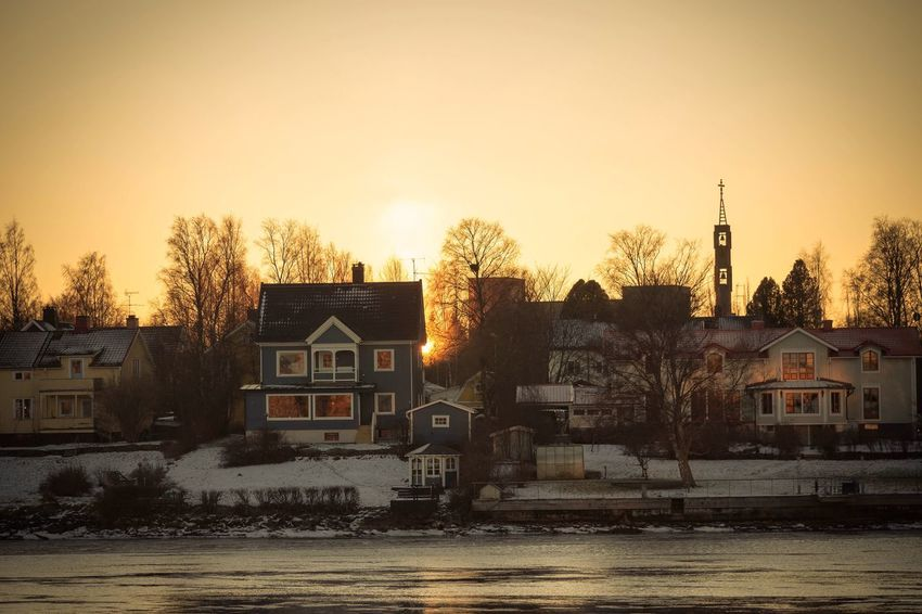 Winter House Built Structure Building Exterior Architecture Tree Sunset Cold Temperature Snow Clear Sky Outdoors No People Sky City Bare Tree Nature Water Reflection EyeEm Masterclass EyeEm Best Shots