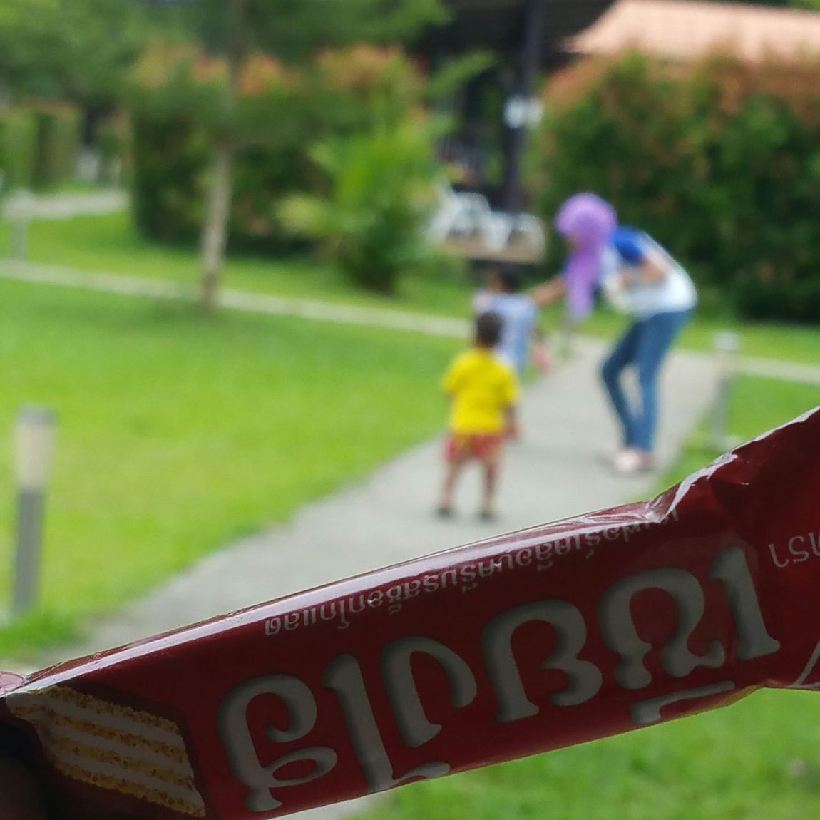 convinced the lil boy to give me a choco wafer :)