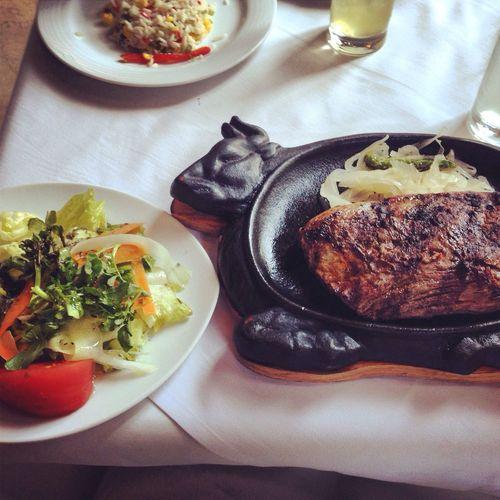 Enjoy A Meal Flank Steak  Cow Love and the waitress said: be careful 'cuz tha cow is hot!!! Lol ???