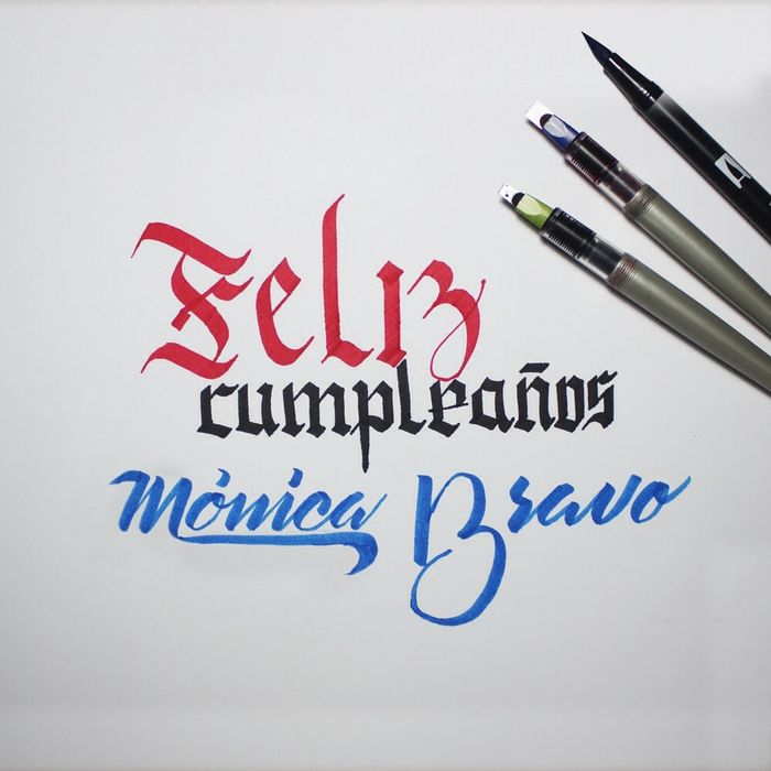 Birthday strokes for a great friend Calligraphy Brushlettering Gothic Letters