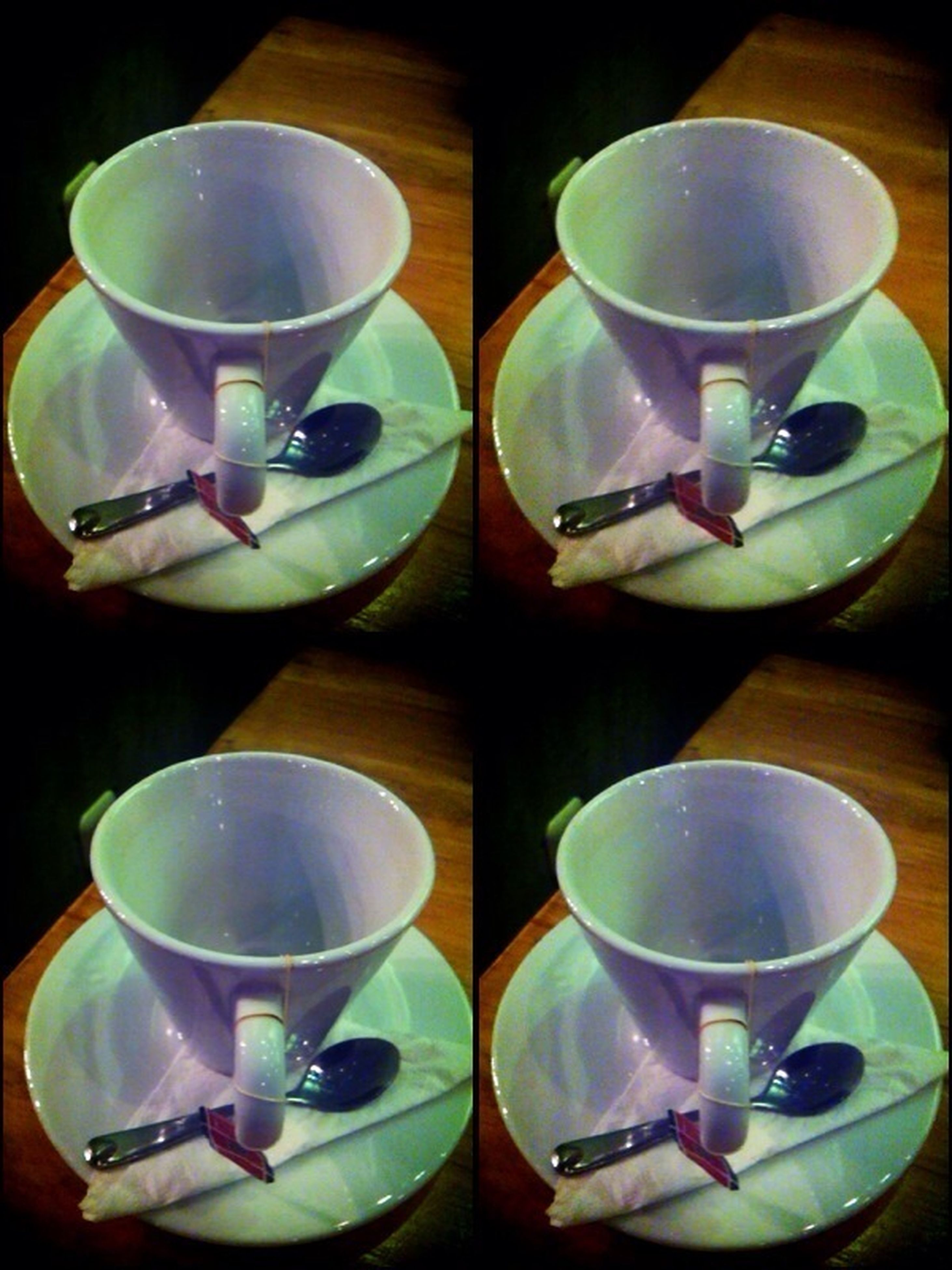 indoors, table, coffee cup, drink, food and drink, saucer, cup, still life, plate, coffee - drink, refreshment, tea cup, spoon, coffee, high angle view, arrangement, variation, fork, empty, freshness