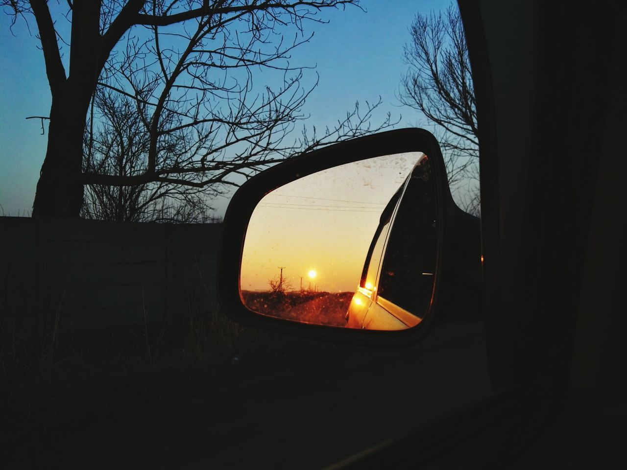 When the sun goes down... HuaweiP8 Sunset Reflection Window Sky No People Side-view Mirror Car Beauty In Nature Outdoors Vehicle Mirror Nature Winter Cold Temperature Clear Sky