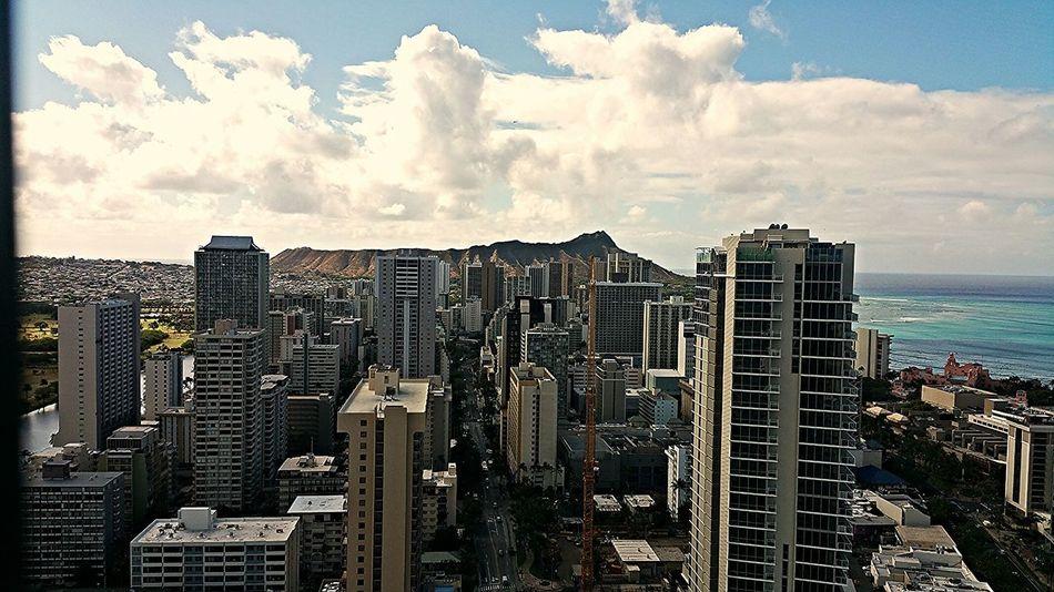 Diamond Head Waikiki Honolulu, Hawaii Cityscapes Beach Volcano Citylife Cityscape Islandlife Skyscrapers Clouds And Sky Million Dollar View Ontopoftheworld