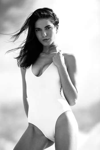 Beauty Three Quarter Length Beautiful Woman Looking At Camera Summer Young Adult One Person Young Women Portrait Beautiful People Beach Adult Real People Women One Young Woman Only Adults Only Sand Day Outdoors One Woman Only