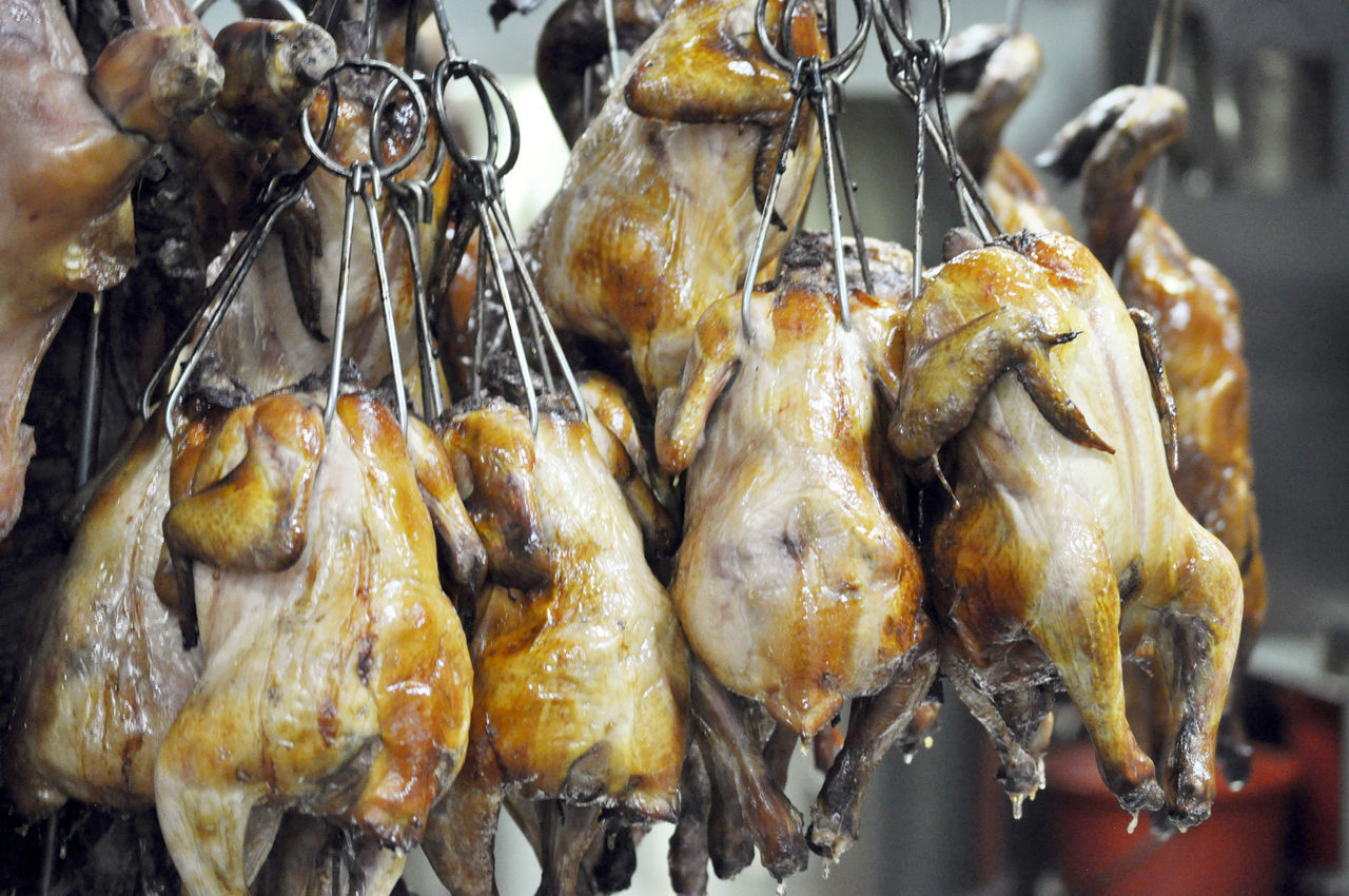 Chickens roasting in kitchen of Asian restaurant in Sydney. Chinese Restaurant Close-up Commercial Kitchens Cooking Crisp Skin Dining Food Food Preparation Grilled Hooks Kitchens Meat Ovens Preparation  Restaurants RoastedChicken Roasting Sydney, Australia