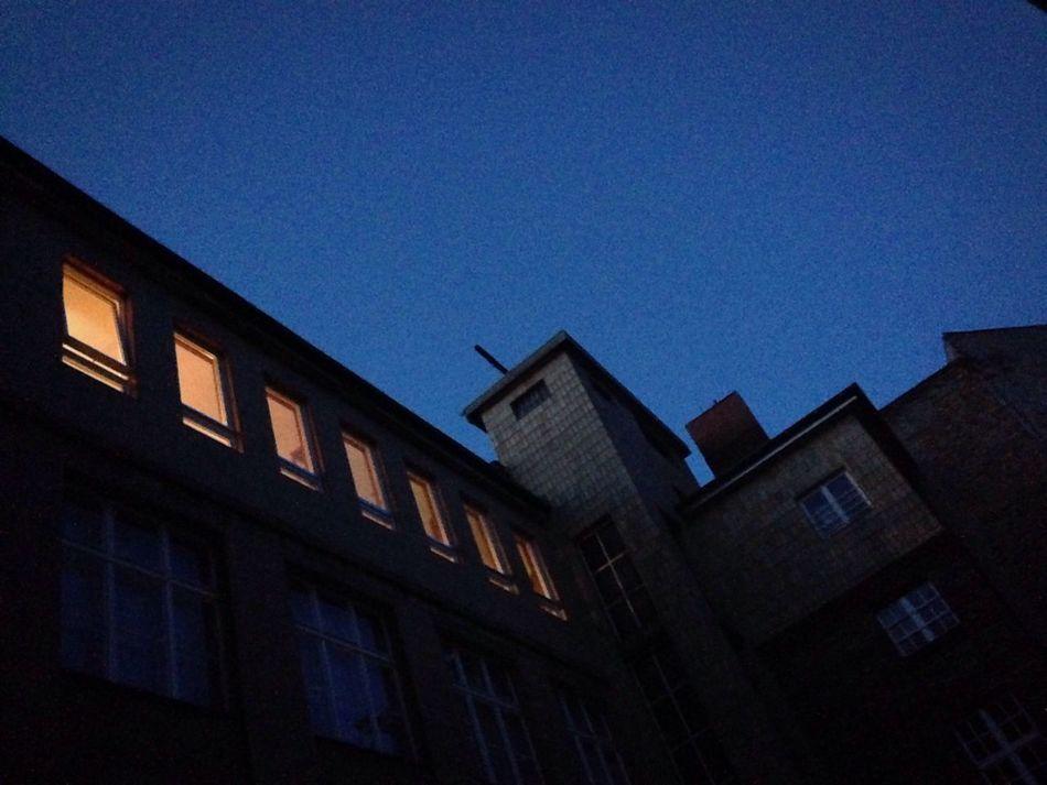 At night Architecture Low Angle View No People Outdoors At Night Lookingup Lights In The Dark Blue Sky Melancholic Dark Mood Sky Illuminated Urbanphotography Cityscape Hinterhof Backyard Berlin Photography