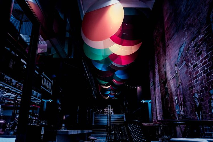 Balloon Multi Colored Indoors  Night Helium Balloon Party - Social Event Flying No People Hot Air Balloon