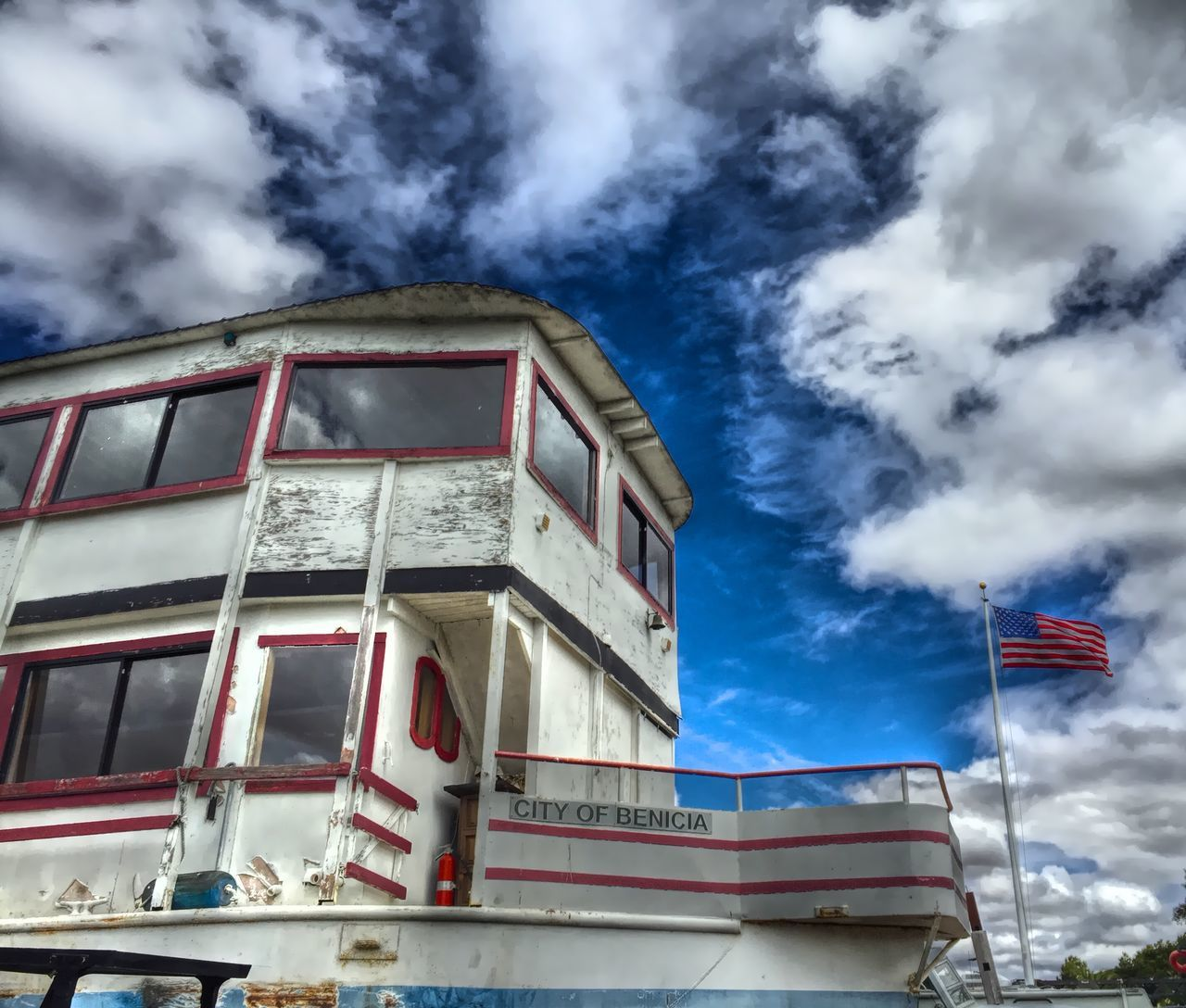 """American Made"" Ship Ships Boats Boatyard Dry Dock American Flag Clouds And Sky Old Boats Ferryboat"