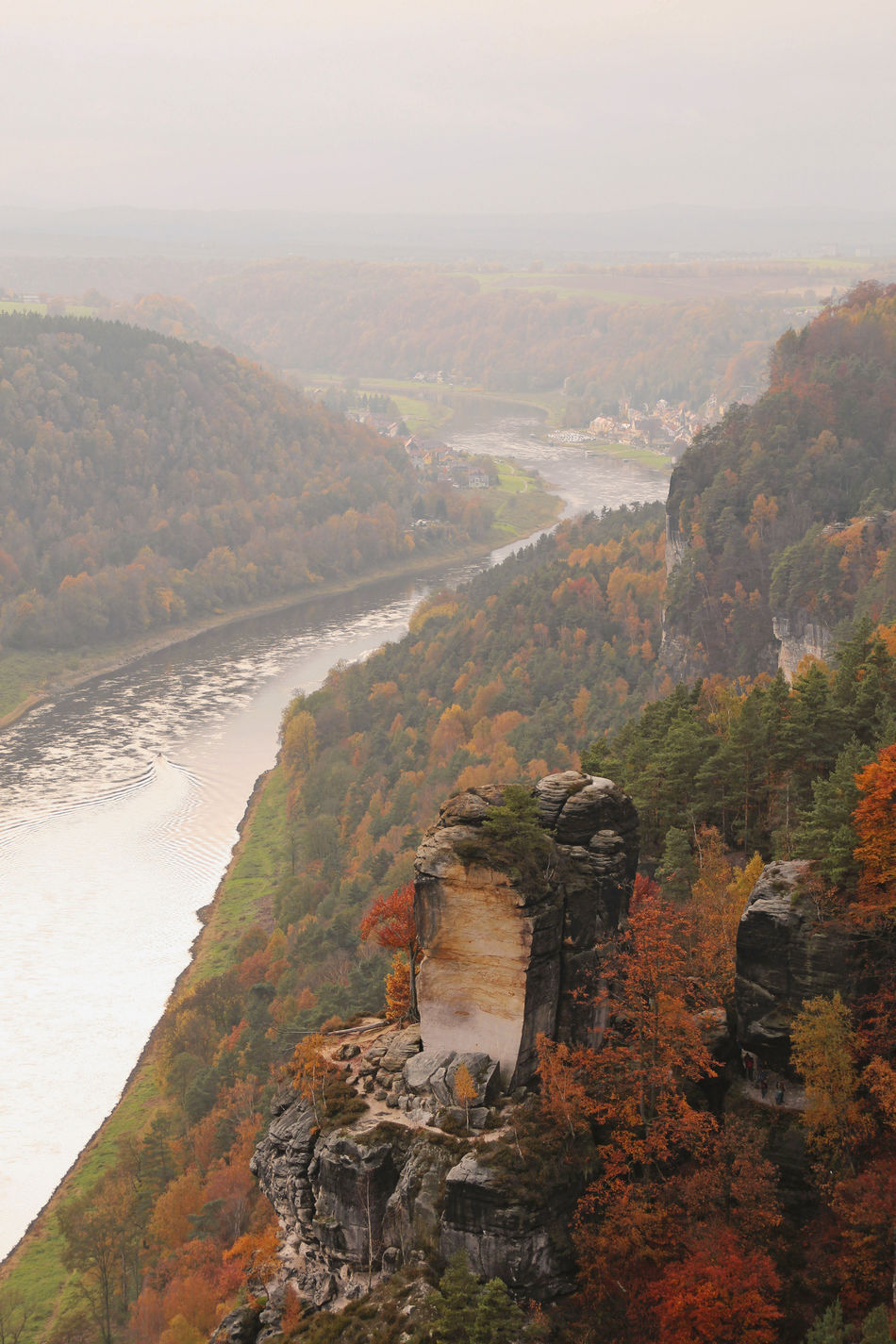 View from the Bastei Autumn Autumn Collection Autumn Colors Autumn🍁🍁🍁 Bastei Beauty In Nature Climbing Rocks Day Elbe Elbe River Landscape Mountain Nature No People Outdoors Rathen Rock Rock Formation Saxon Switzerland Scenics Water