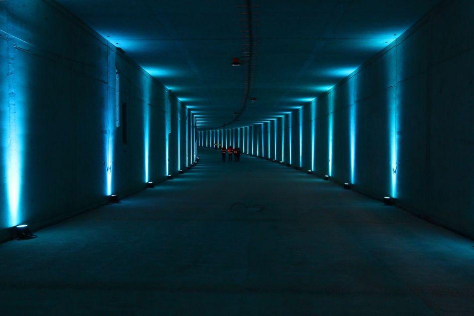 Indoors  The Way Forward Architecture Ceiling Built Structure Illuminated No People Passageway Day Passage Tunnel Bluelight Minimalism Hamburg