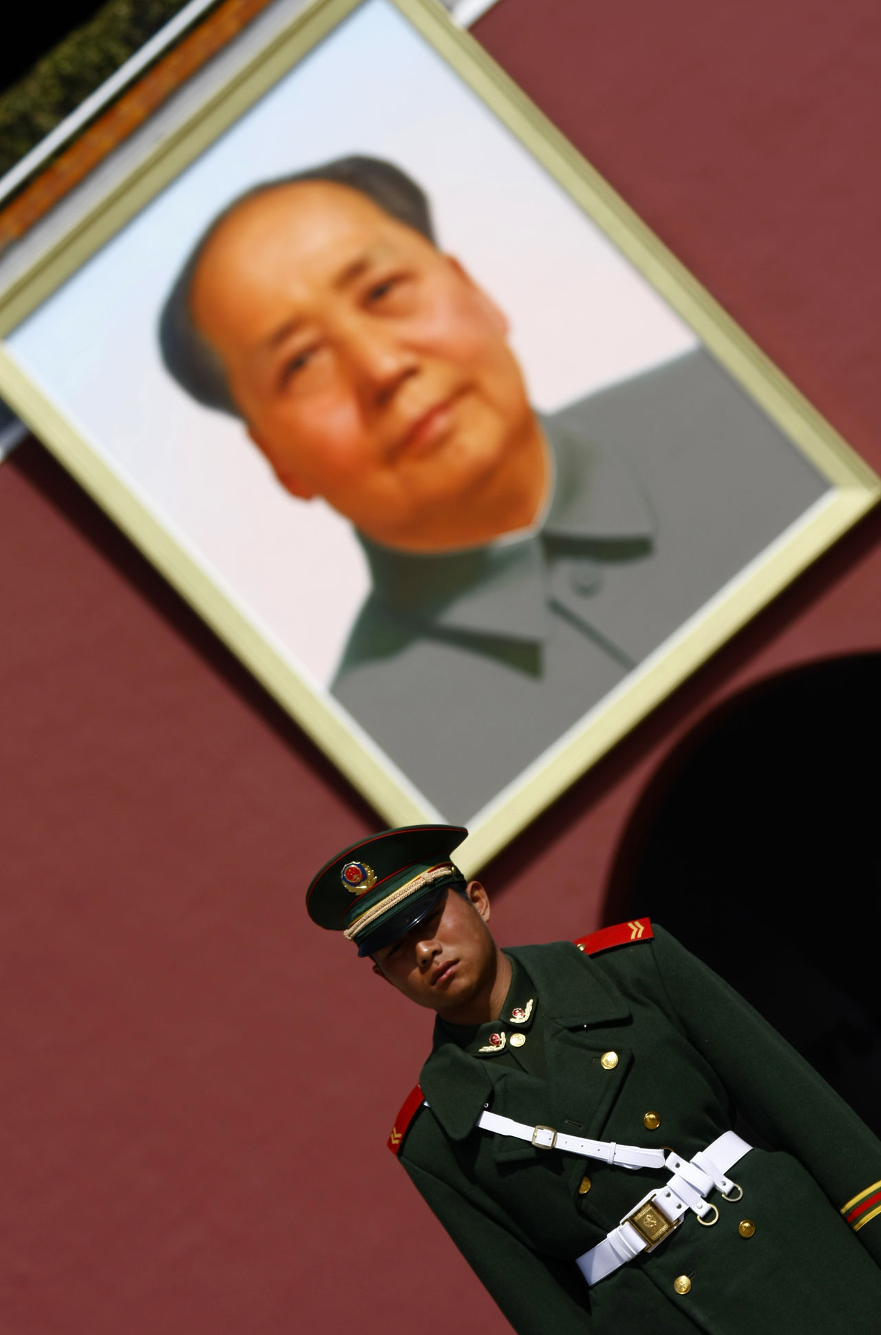 Beijing China Chinese Forbidden City Front View Guard Guarding Imperial Palace Leader Mao Person Portrait Waist Up Young Adult Young Men Zedong