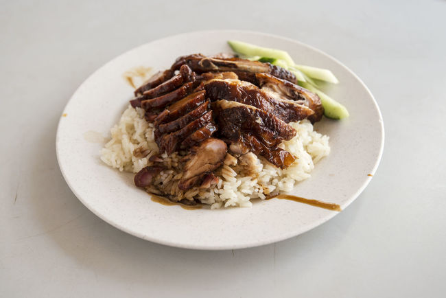 Roasted Chicken Rice with added char siew Char Siew Close-up Cucumber Food Freshness Indulgence Meal Meat No People Plate Ready-to-eat Rice Roasted Chicken Rice Served Serving Size Still Life Temptation