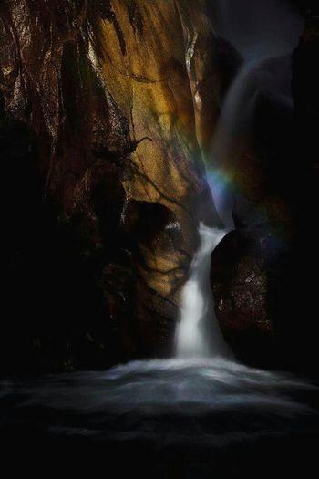 Waterfall Rainbow Japan Nature Rocks Water