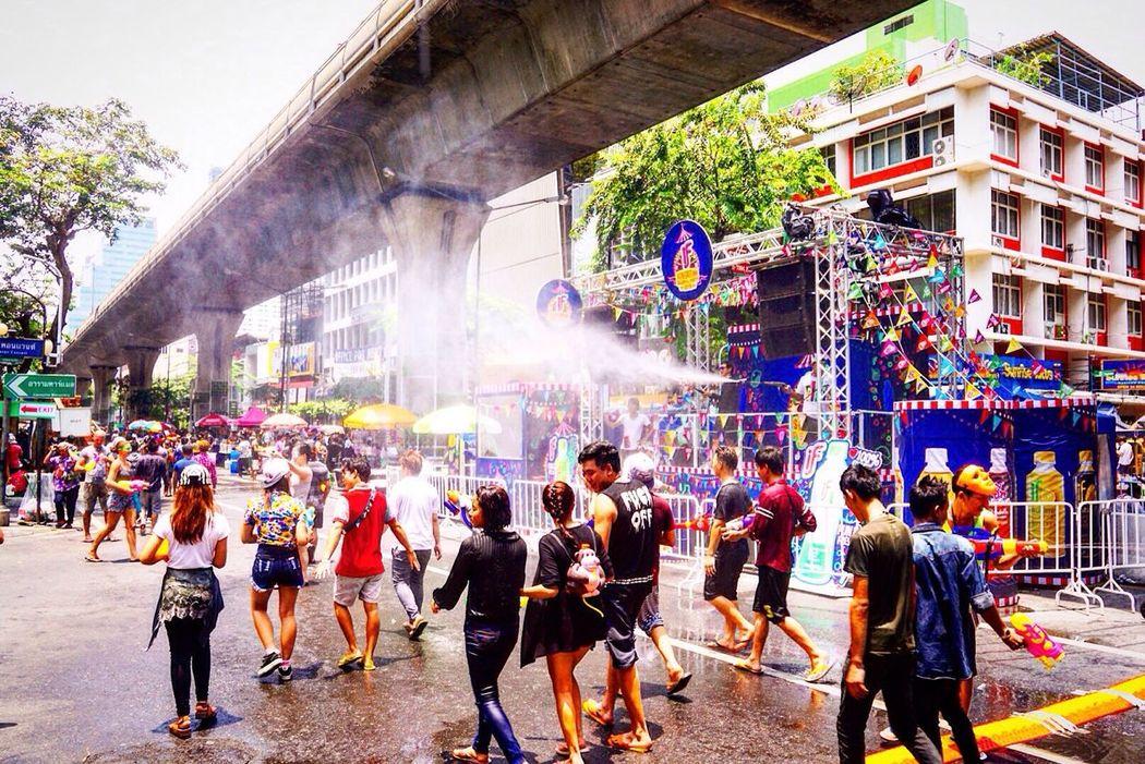 Songkran Festival Songkran Waterfest Thailand Bangkok Silom