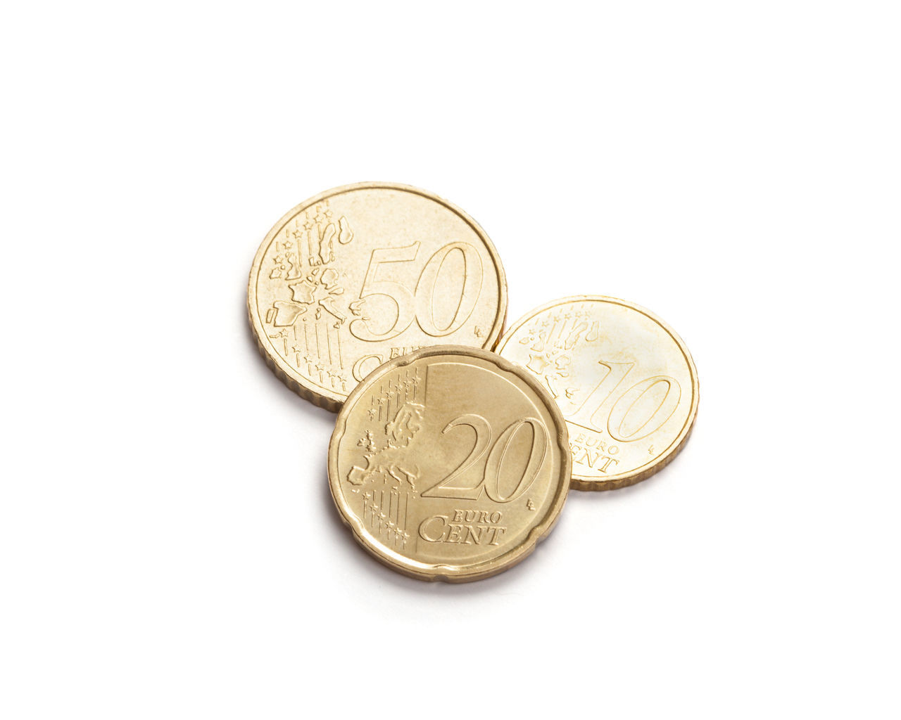 Close-Up Of European Union Coins Over White Background