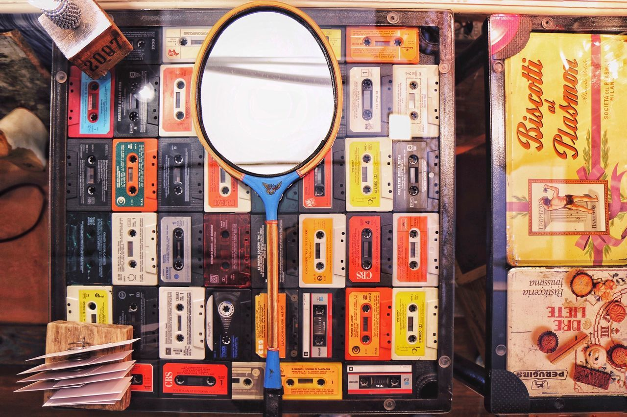 Large Group Of Objects Variation Indoors  No People Day Close-up Disc Cassette Film Racket Mirror Reflection Table Collection Old Colourful Color Colors Antique Handmade Photography Festival