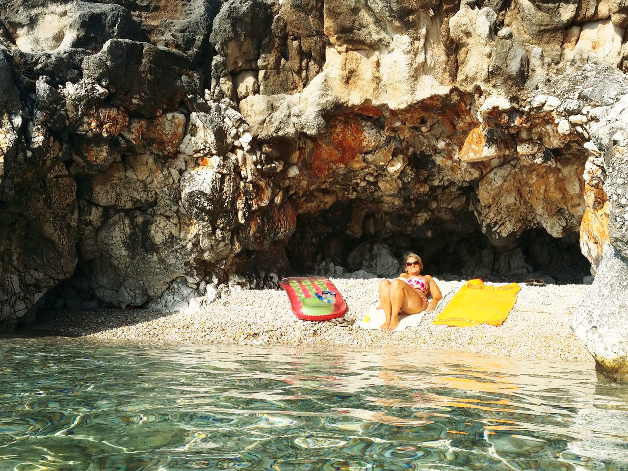 Sunbathing on our own private, secret beach Adult Woman Crystal Clear Waters Day Kefalonia, Greece Outdoors Private Beach Relaxing In The Sun Secluded Cave Secret Places Skala Secret Spaces The Secret Spaces