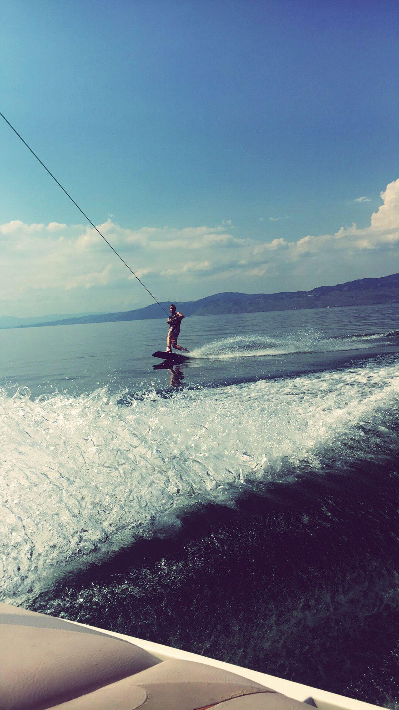 Investing In Quality Of Life Wakeboarding Lake Water Nature Extreme Sports Horizon Over Water Switzerland Swiss Riviera Wake