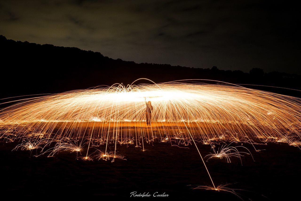 long exposure, motion, night, wire wool, illuminated, glowing, blurred motion, danger, sky, outdoors, speed, nature, no people, water