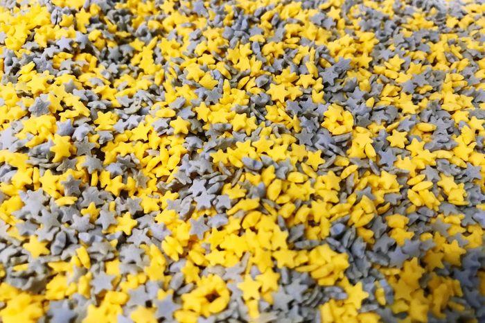Star Shaped Star Shape Sprinkles Yellow Freshness Backgrounds Full Frame Fragility Close-up No People Abundance
