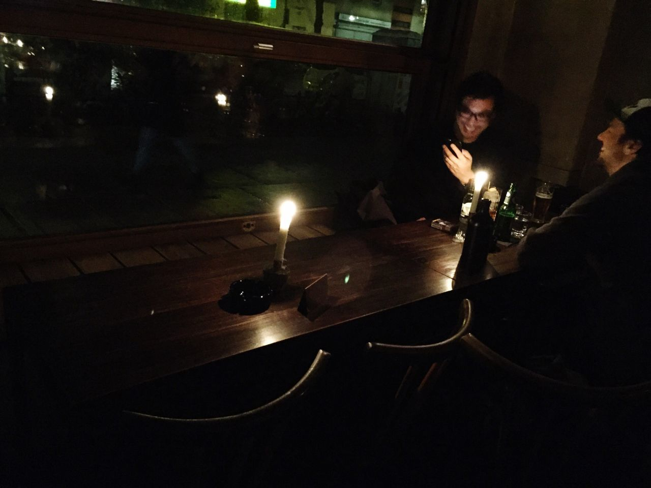 Candle Night Indoors  Real People Table Men Togetherness Drinking Beer Bar Two People Candlelight Wood - Material Relaxing