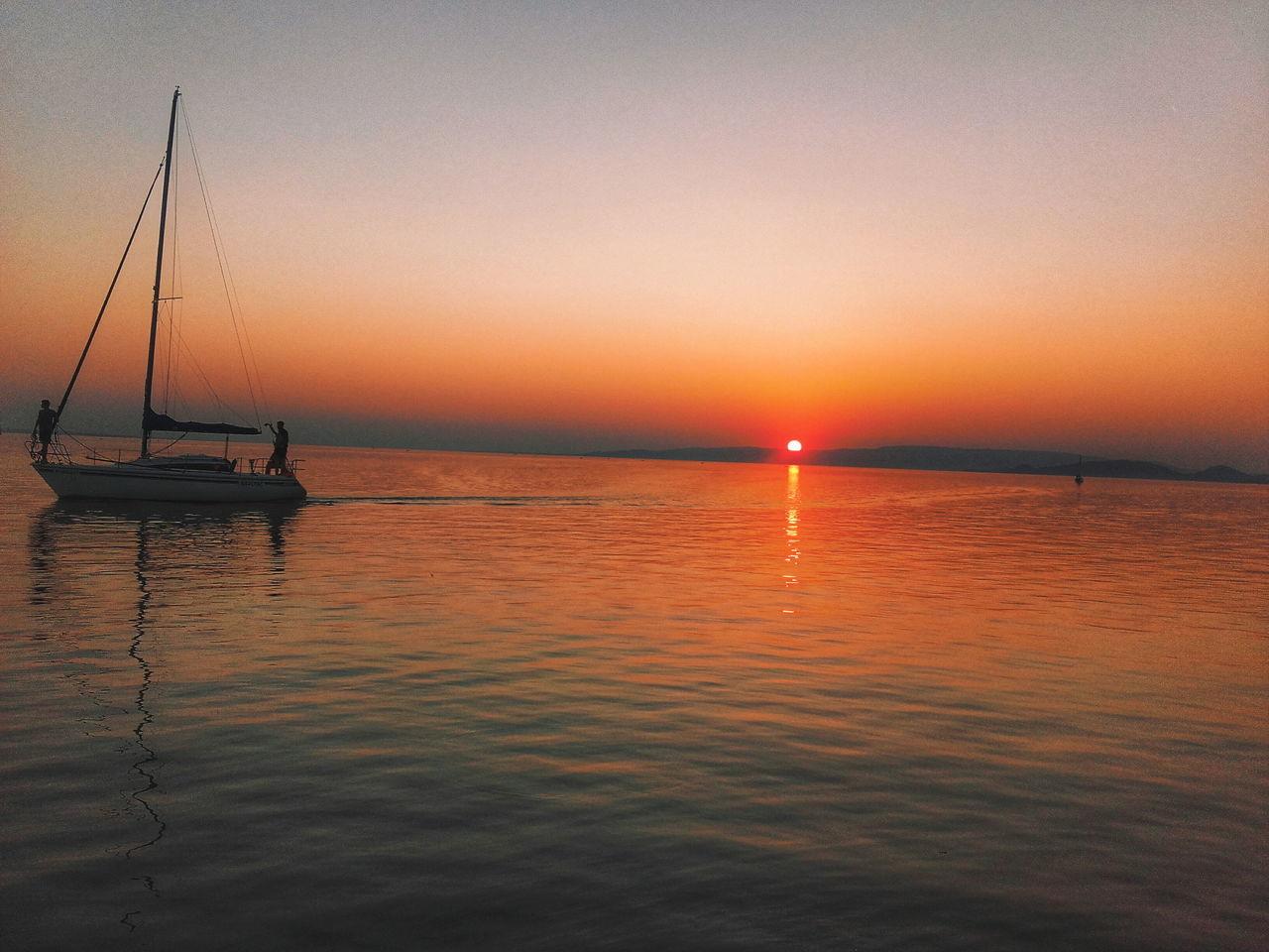 Lake Balaton Lake Boat Sunset Nature Summer ☀ Colors Of Nature Colors Calm Water Calm Orange Sky Orange Color Orange Sunset Beautiful Beach