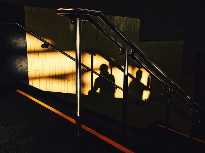 Steps And Staircases Staircase Railing Indoors  No People Illuminated Hand Rail Paint The Town Yellow