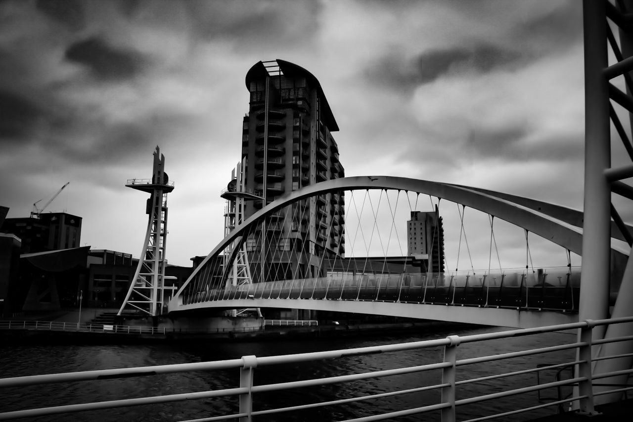 Architecture Bridge - Man Made Structure Cloud - Sky Built Structure Sky Travel Destinations Harbor Cityscape Water City Outdoors Building Exterior Steel No People Urban Skyline Day Blackandwhite Black And White Photography Bnw_collection Salford The Architect - 2017 EyeEm Awards