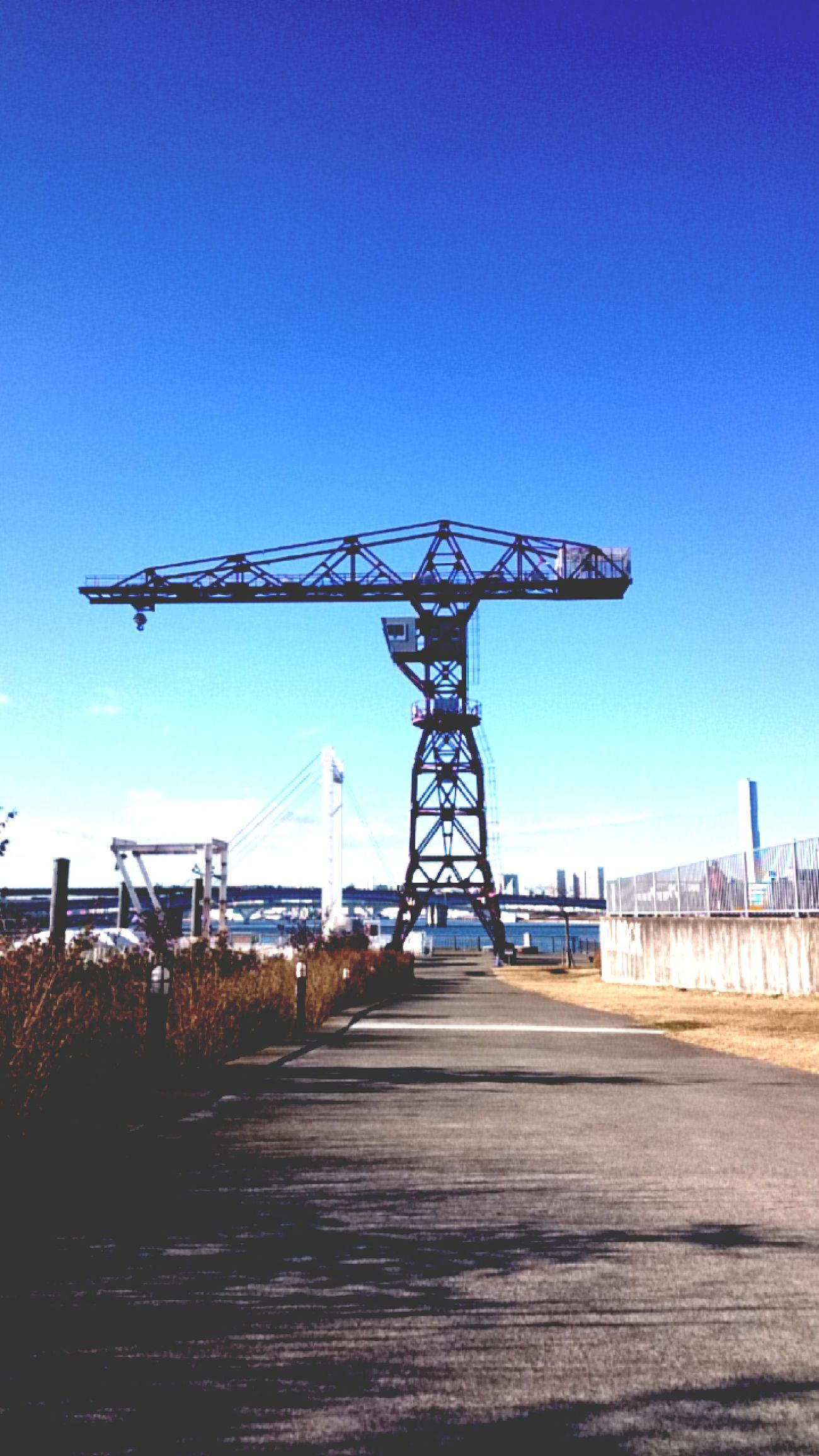 Sky Clear Sky No People Outdoors Industry Day Sea Side Tokyo,Japan Toyosu Crane - Construction Machinery Crane