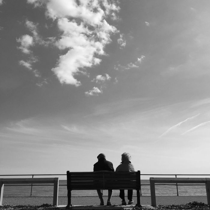 A bench with a view. Blackandwhite Sea Seaside