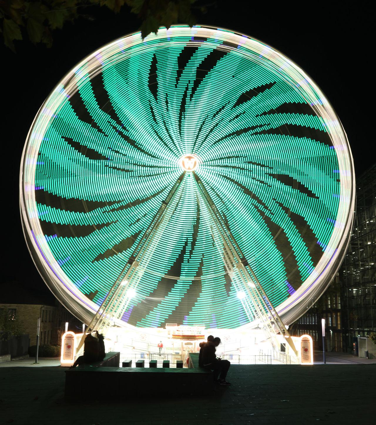 Essen Essen Light Festival 2016 Ferris Wheel Green Color Illuminated Langzeitbelichtung Long Exposure Spinning Web