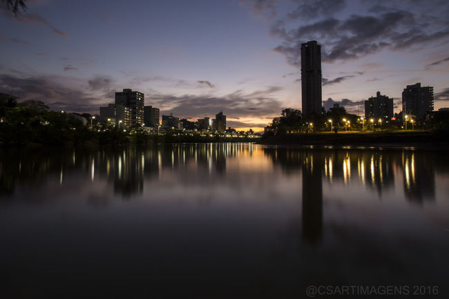 Por Do Sol Blumenau City Water Reflections Skyline Reflexos Na Águar Beauty In Nature