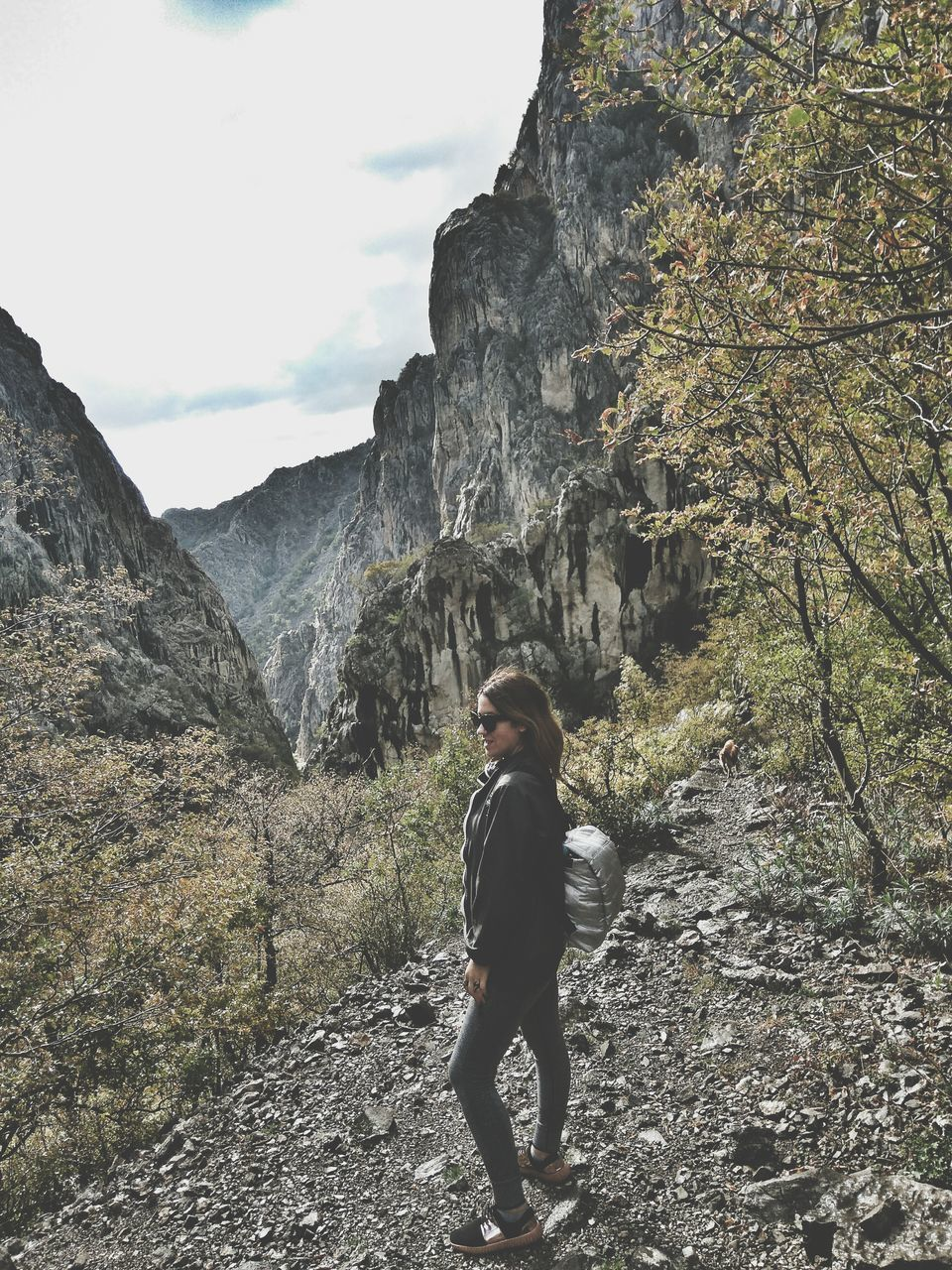 mountain, real people, one person, leisure activity, full length, nature, lifestyles, rock - object, casual clothing, day, standing, scenics, walking, beauty in nature, adventure, hiking, rear view, outdoors, men, landscape, tree, young adult, sky, people