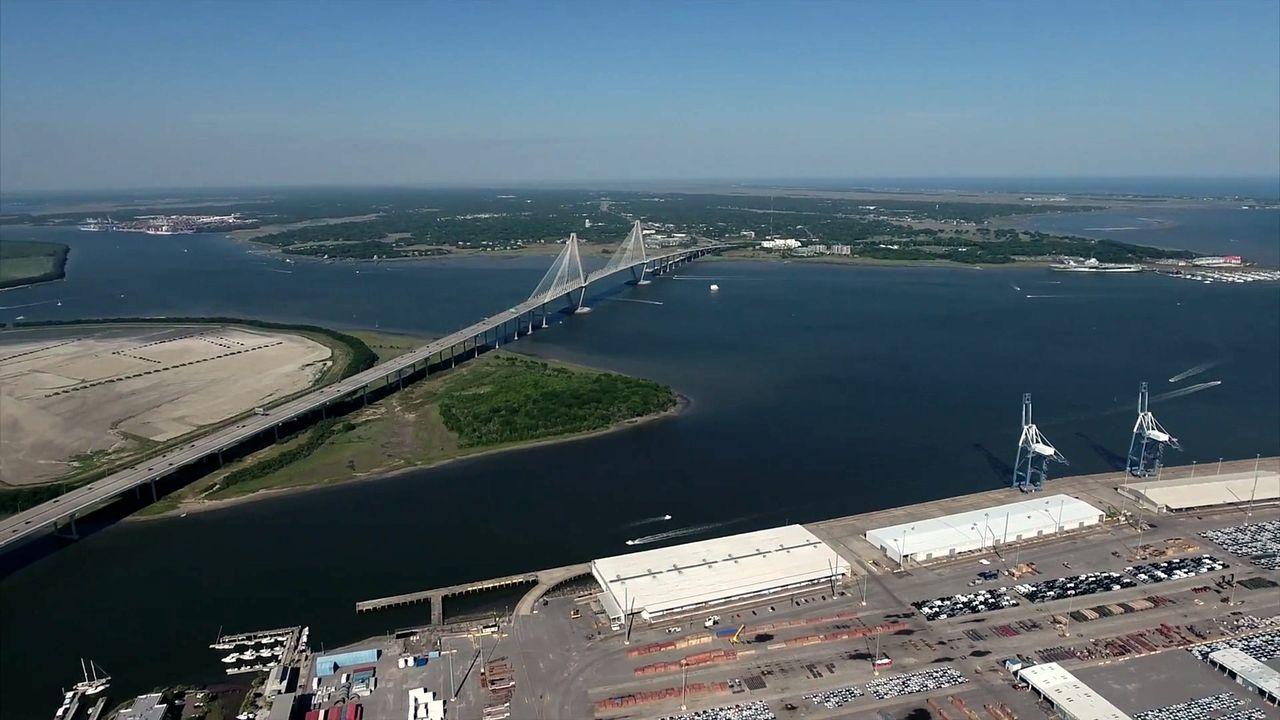 Ravenal Bridge Charleston SC Drone  A Bird's Eye View