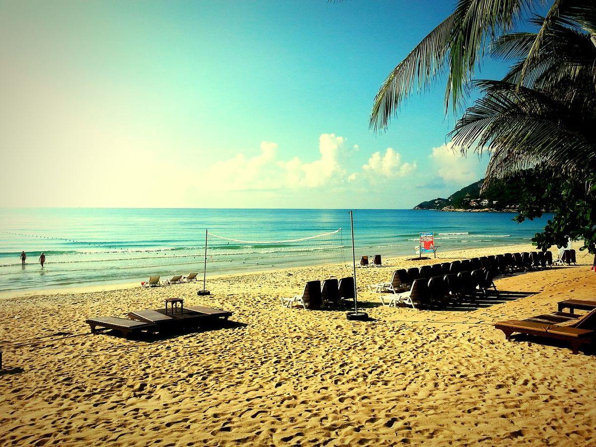 Koh Samui Chaweng Chaweng Noi Beach Sea And Sky Sea Water Relaxing Palms Horizon