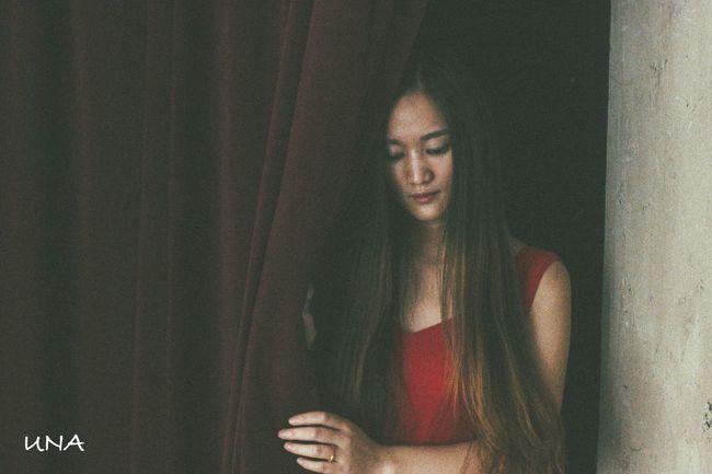 Long Hair Girl Red Dress