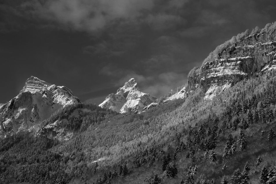 Beauty In Nature Black And White Cold Temperature Landscape Majestic Mountain Mountain Range Nature Rock Saint Gervais Scenics Sky Snow Snowcapped Tranquil Scene Tranquility Weather Winter