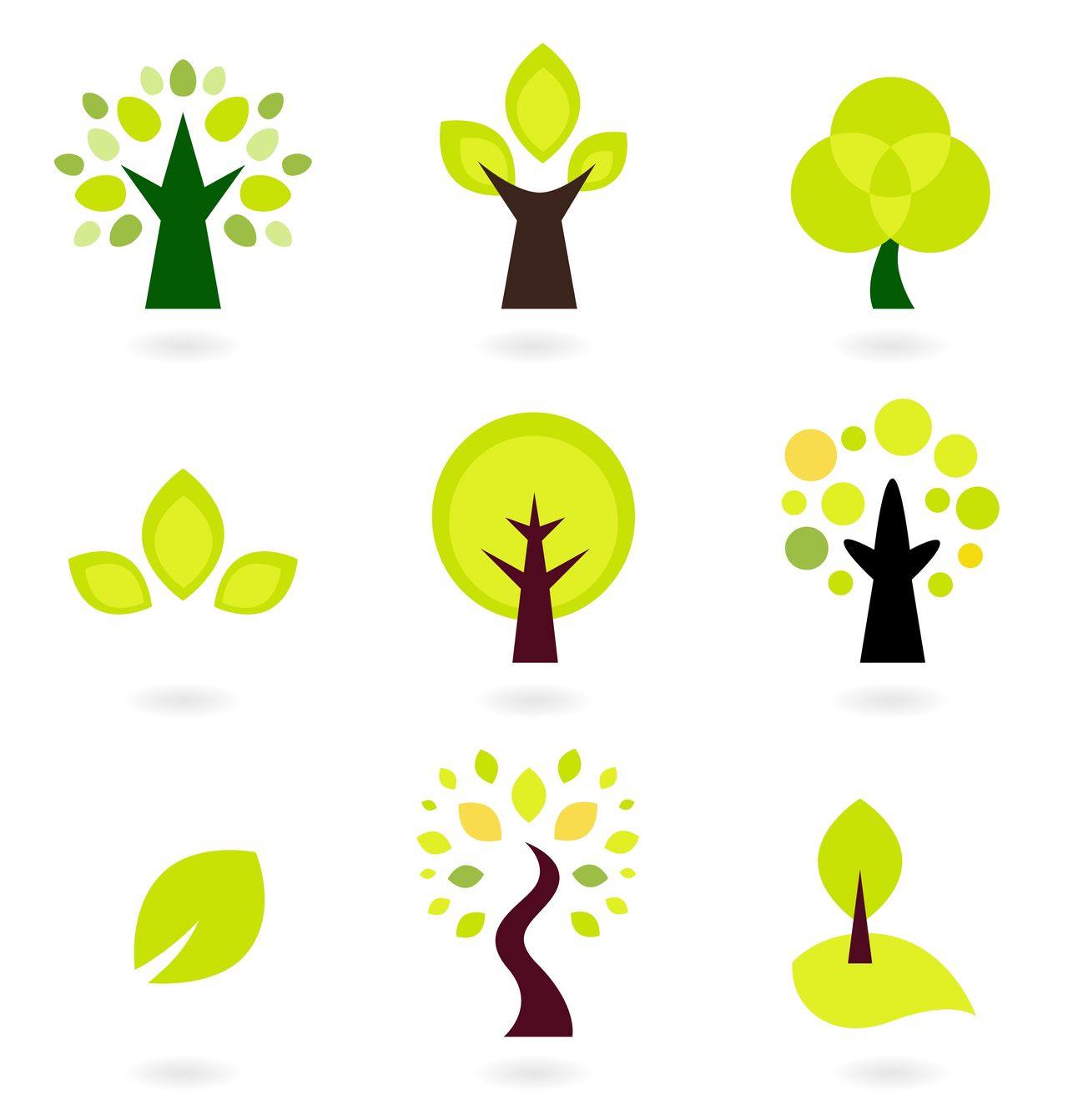 Designers Hand-drawn elegant green Trees / on white Art Business Company Computer Graphic Computer Icon Green Green Color Naturals Collection Symbol Symbolism Tree Trees Icons Trees Icons White Background