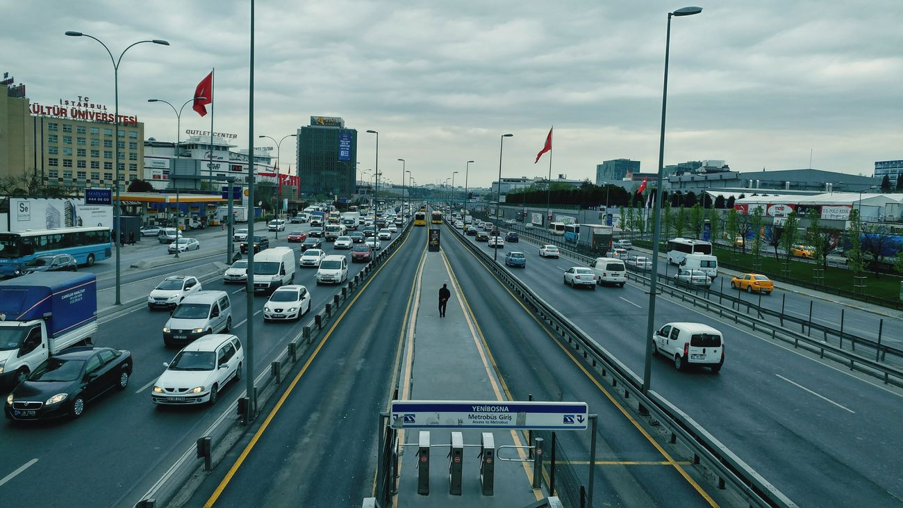 Car Transportation High Angle View Traffic City Street Mode Of Transport City Downtown District Cloud - Sky Day Outdoors Urban Skyline Public Transportation Building Exterior Sky Cityscape Politics And Government No People Modern Architecture Istanbul Turkey
