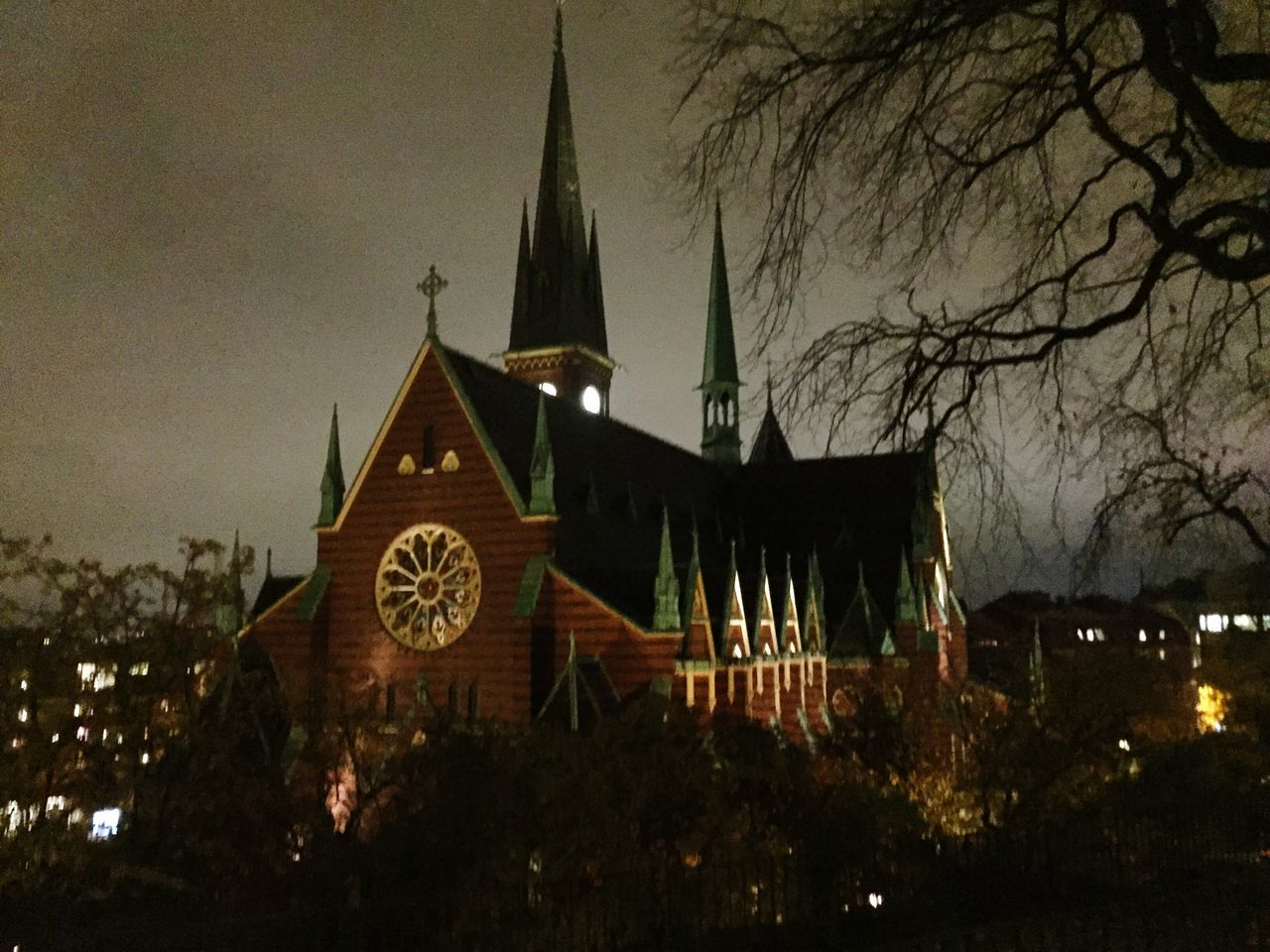 Tree Architecture Church Churches Place Of Worship Religion Building Exterior Outdoors Night Bare Tree Sweden Winter Colour Of Life Beautiful Colors Travel Lights Gothenburg Cold Sunset Spooky Halloween