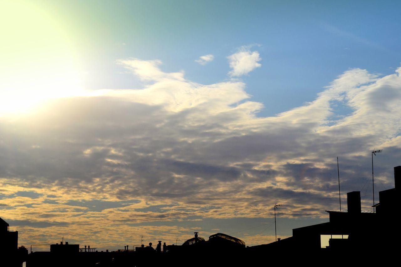 cloud - sky, sky, sunset, silhouette, built structure, no people, building exterior, sunlight, outdoors, beauty in nature, architecture, nature, scenics, day, city