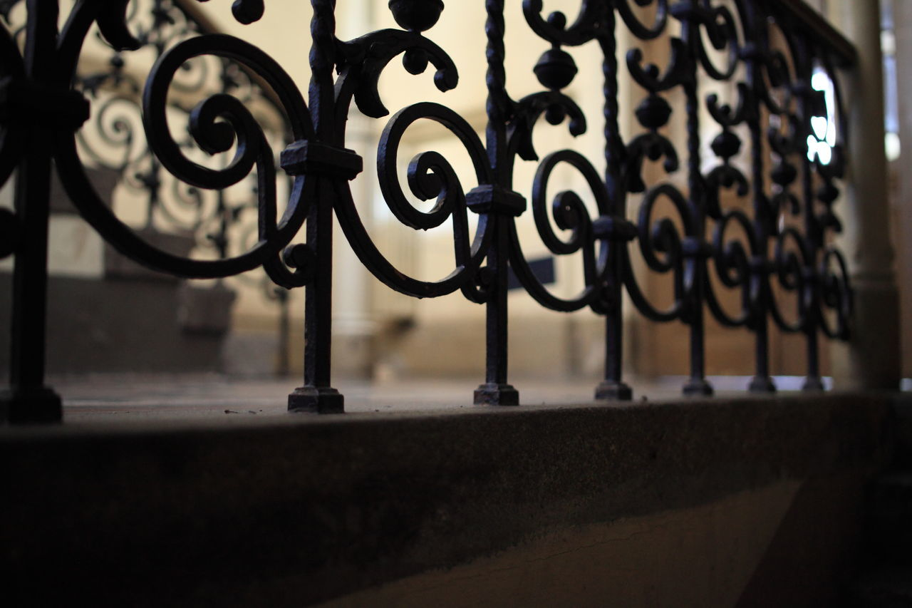 selective focus, metal, close-up, indoors, no people, day