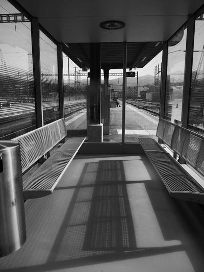 Waiting Room Train Station Indoors  Architecture Day Transportation No People Architectural Column Built Structure Light And Shadow Black And White Black & White Shadows & Lights